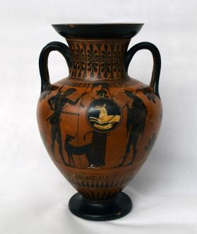 Attic Black-Figure Neck Amphora with Athena, Herkales, and Hermes