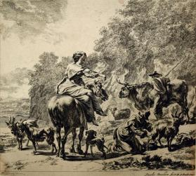 Landscape with Woman on Horseback and a Shepherdess Milking a Goat